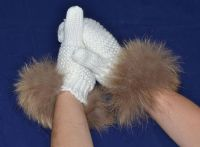 White Knitted Wool Mittens with Raccoon Fur Trim